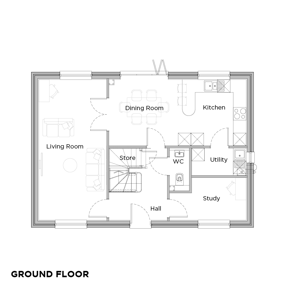 Upbury Grange Oak floorplans ground floor